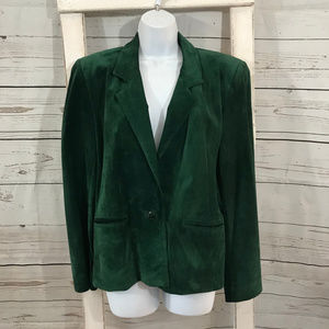 Talbots Leather Suede Green Dress Blazer Jacket